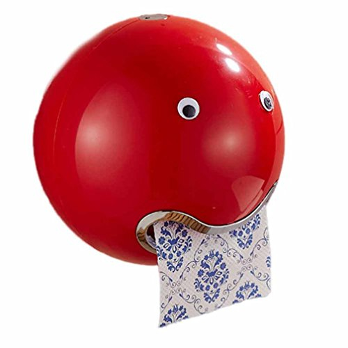 Sucker Toilettenpapier Box, ZARU Ball Shaped Nette Emoji Bad Wc Wasserdichte Tissue Box (Rot)
