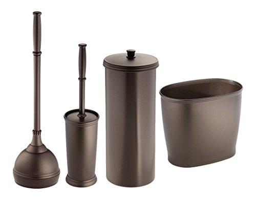 MetroDecor mdesign WC-Bürste, Kolben/Toilettenpapierhalter/Ovaler Abfalleimer, Bronze, 4 Stück