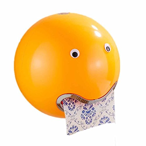 Sucker Toilettenpapier Box, ZARU Ball Shaped Nette Emoji Bad Wc Wasserdichte Tissue Box (Orange)