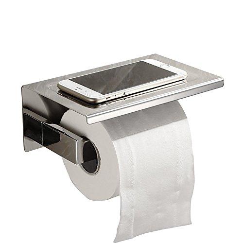 Fontic 304 Edelstahl Klopapierhalter Verchromt Toilettenpapierhalter mit Ablage Wandhalter für Badzimmer WC Papierhalter