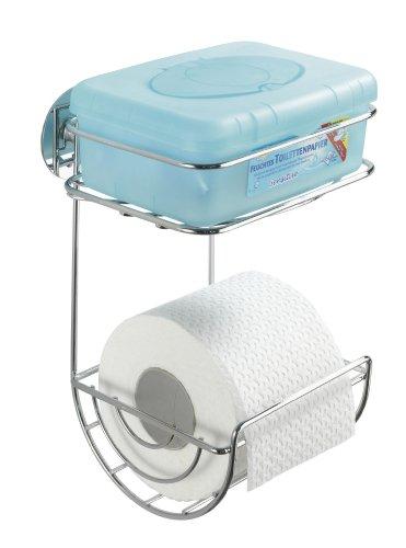 WENKO 18773100 Turbo-Loc WC-Rollenhalter mit Ablage - Befestigen ohne bohren, Stahl, 16.5 x 24.5 x 14 cm, Chrom