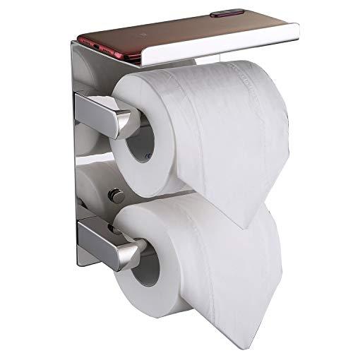 FANHAO Doppelrolle Toilettenpapierhalter mit Ablage, klopapierrollenhalter SUS 304 Edelstahl Badezimmerzubehör Papierrollenspender, Mit Schrauben klopapierhalter Mehrzweckregal Wandmontage