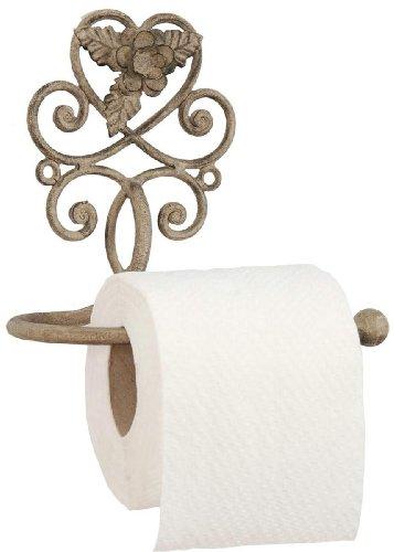 Clayre & Eef 6Y0200 Toilettenpapierhalter Metall Blütenverzierung Landhaus- Stil