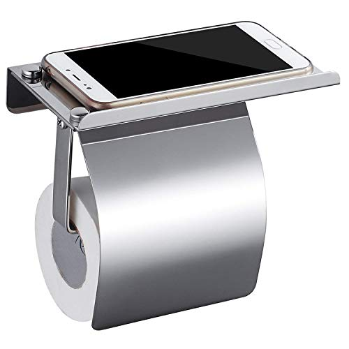 HOMFA Toilettenpapierhalter mit Deckel Papierhalter ohne Bohren Papierrollenhalter  rostsicher Klopapierhalter Selbstklebender 3M-Kleber mit Mobiler Telefon Aufbewahrungsfläche