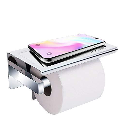 Toilettenpapierhalter Ohne Bohren, Acelink Selbstklebend Klopapierhalter WC Rollenhalter mit ablage, SUS304 Edelstahl, 19 x 11,5 x 9,5 cm