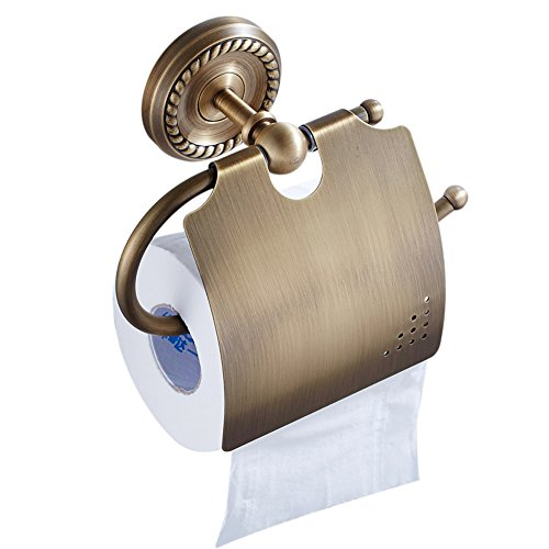 CASEWIND Wasserdicht Toilettenpapierhalter Klorollenhalter mit Deckel Antik Messing mit Vintage Retro Stil Wandhalterung Bohren Wandmontag