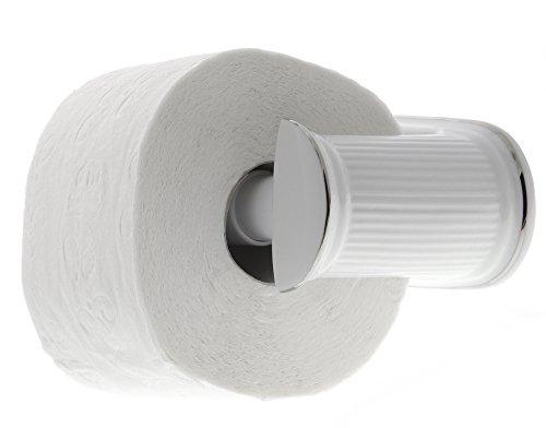 """WC Papierhalter""""Klassik"""" weiß mit Silber Platin-Rand, Kosmetex Klopapier Abroller Toilettenpapier-Halter Porzellan, Papierhalter"""