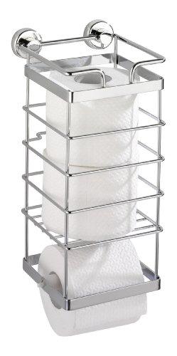 WENKO 17833100 Power-Loc WC-Ersatzrollenhalter Sion - Befestigen ohne bohren, Stahl, 14 x 32 x 15.5 cm, Chrom