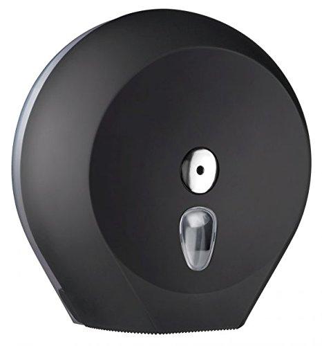 Toilettenpapierspender Wandmontage Schwarz - für Großrolle - abschließbar - mit Sichtfenster
