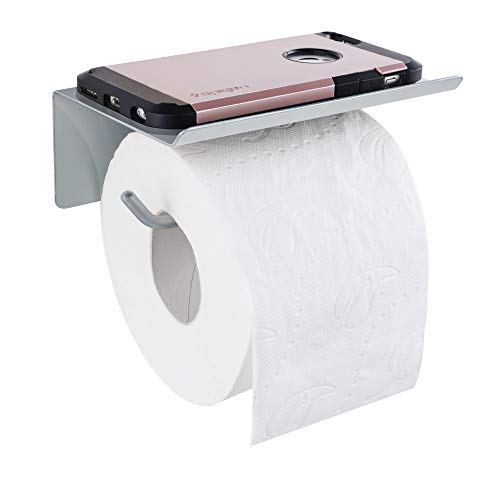 ALWERE selbstklebender Toilettenpapierhalter mit Ablage Handy Smartphone OHNE BOHREN links