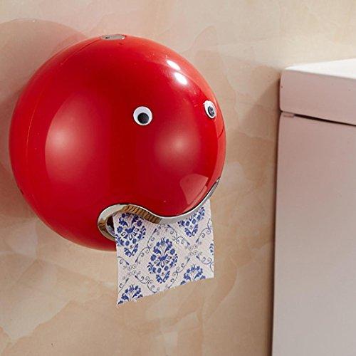"""DOLDOA Kreative Emoji Toilettenpapierhalter Wasserdichte WC-Rollenhalter Klopapierhalter (18,5 x 18,5 cm / 7,28 """"x 7,28"""", Rot - Toilettenpapierhalter)"""