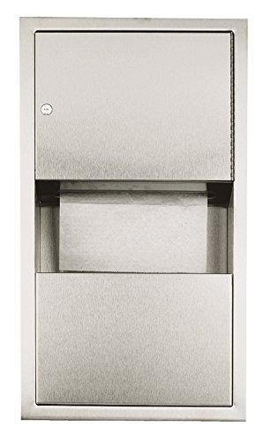Nofer 12047.s-Spender Toilettenpapier/Abfalleimer Unterputz Edelstahl Silber 10,6x 35x 70cm