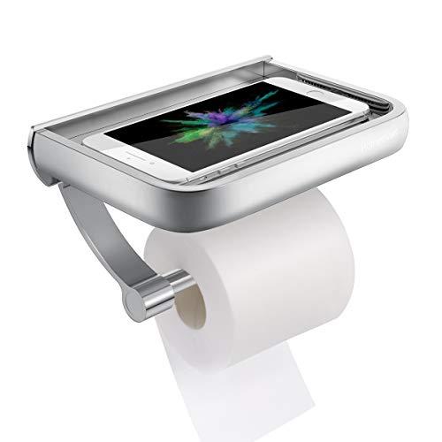 Toilettenpapierhalter, Homemaxs Premium Aluminium Papierrollenhalter Klopapierhalter mit Ablage für Mobiltelefon Matte Finish, Wandmontage Papierhalter für Badzimmer-Schraubenmontage
