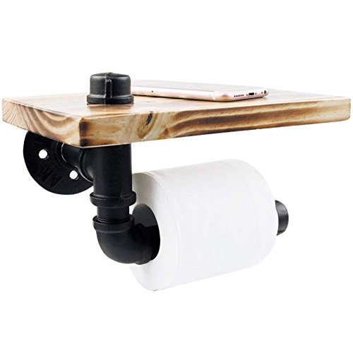 Toilettenpapierhalter, Earthbay Klassisch WC-Ersatzpapierrollenhalter Gebildet vom Industriellen Eiserne Rohr & Hölzernes Regal