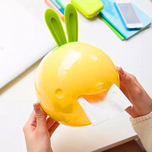Generic Tissue Boxen Rolle Papier Halter Creative niedliche Kaninchen Form Kunststoff stehend Tissue Box Saugnapf Toilettenpapierhalter gelb