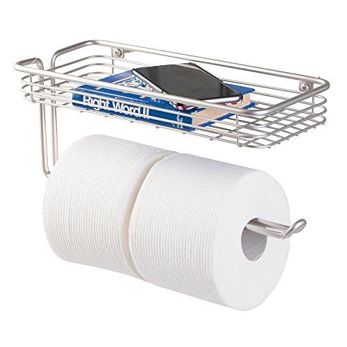 MetroDecor mDesign Toilettenpapierhalter mit Ablage - praktischer Toilettenrollenhalter für Zwei Klopapierrollen - moderner Klopapierhalter in elegantem Design - Farbe: Satin