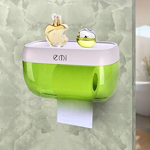 Abs Wc-fach,Große kapazität Toilettenpapierhalter Wasserdicht Klopapierhalter Tissue box Regal Ohne bohren-grün
