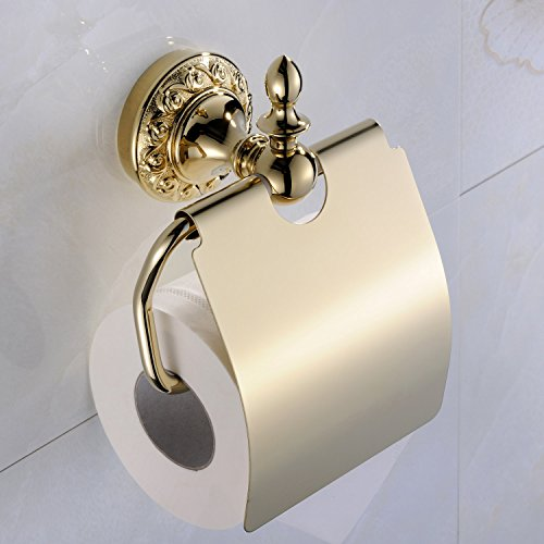 Weare Home Badzubehör Modern Ti-PVD Finish Messing Antik Material WC-Rollenhalter Toilettenpapierhalter Papierrollenhalter zur Wandmontage