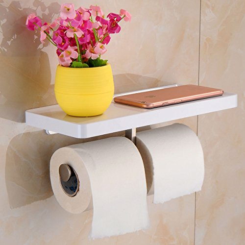 Aothpher Doppel-Toilettenpapierhalter multifunktional wandmontiert Edelstahl Ablage, wei?er Anstrich, Toilettenpapierhalter im Badezimmer ?