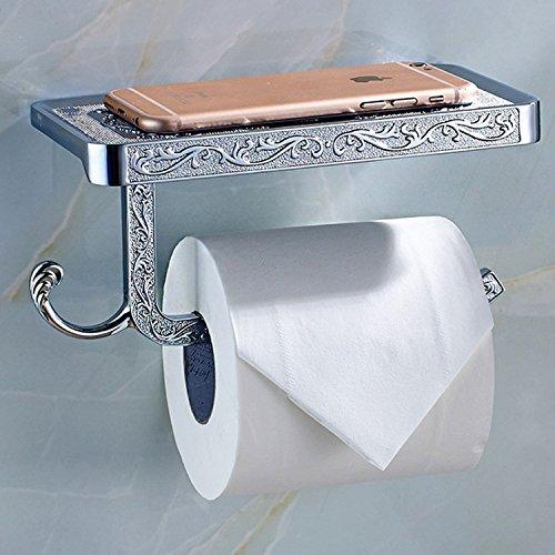 Thinktop Toilettenpapierhalter im Antik-Look, mit Ornamenten, mit Ablage, Wandmontage, mit zwei Haken silber