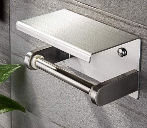 Toilettenpapierhalter Edelstahl Klopapierhalter mit Ablage WC Rollenhalter Wandmontage für Badezimmer