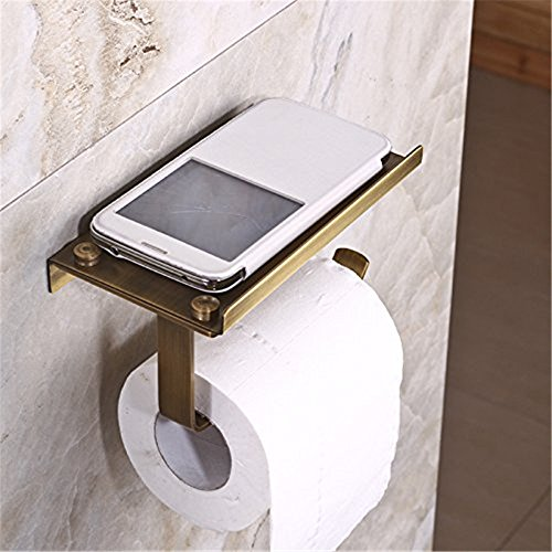 Weare Home Bronze Messing Kupfer Antik Retro Vintage Rustic Toilettenpapierhalter Klorollenhalter Band Handyhalter Wandmontag