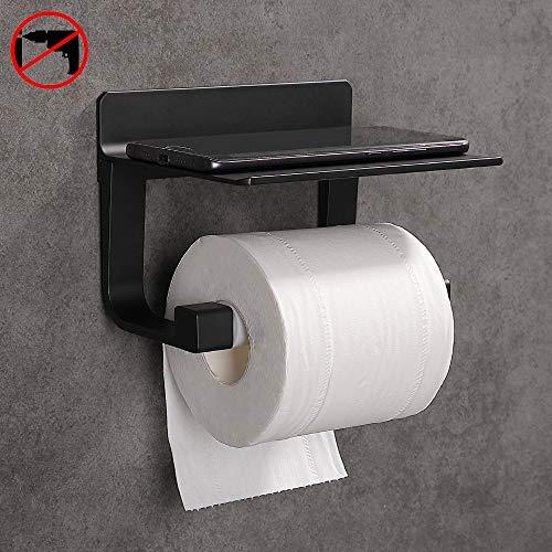 Hoomtaook Toilettenpapierhalter Ohne Bohren Selbstklebende Toilettenpapierhalter Ohne Bohren, Space Aluminium, Matte Finish Schwarz