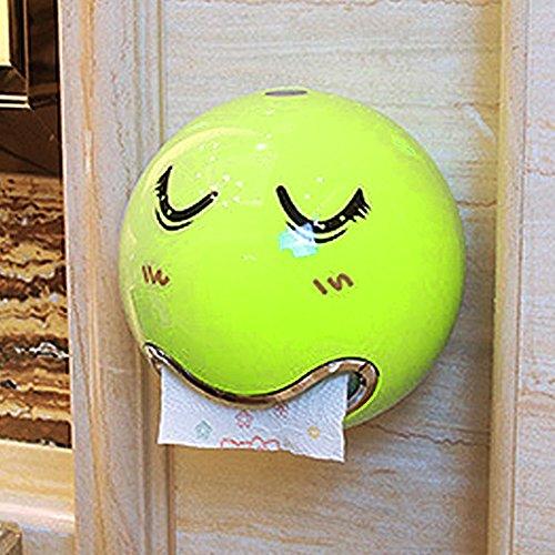 Rolle Zettelhalter, süße Emoji in Seidenpapier Spender Wasserdicht Wand montiert mit Gesicht Aufkleber für Bad WC, Schraube fixiert, grün, Free Size