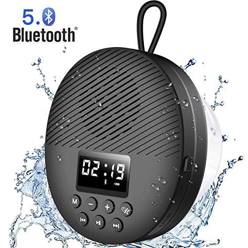 AGPTEK Bluetooth 5.0 Lautsprecher, Ttragbare Musikbox mit LED-Bildschirm, eingebautem Mikrofon, Saugnapf und Lanyard, IPX5 Wasserdicht Radio unterstützt TF-Karte für Outdoor, Bad, 10 Stunden Spielzeit