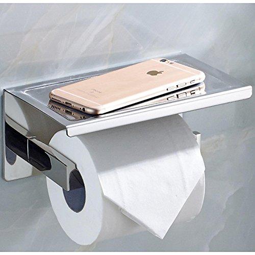 ECENCE Toilettenpapierhalter eckig Edelstahl SUS-304 poliert glänzend verchromt rostfrei Design Halter WC-Rollenhalter mit Ablage für Tücher oder Handy z.B. iPhone + Montagematerial 11010209