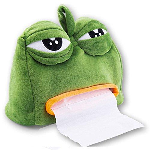 AiSi trauriger Frosch Plüsch Creative Cartoon Tücherbox Tissue Box Holder Kosmetiktücherbox Toilettenpapierhalter Papierrolle Kosmetiktuchspender Taschentuchbox Taschentuchspender Grün