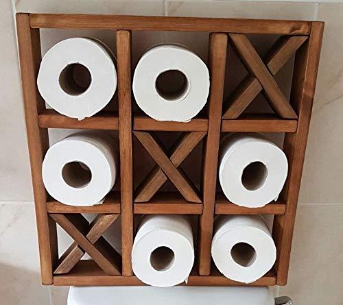 Generic Toilettenpapierhalter mit Holzrahmen, zum Aufhängen, Kreuze für Toilettenpapierrolle, Eichenholz, mittelgroß