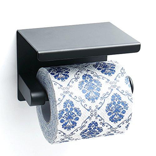 Sayayo Toilettenpapierrollenhalter mit Regal, Edelstahl Mattschwarz, EGG5200-B