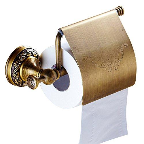 CASEWIND Toilettenpapierhalter mit Deckel, Wasserdicht für Toiletten Küche zum Bohren Wand besteht aus Messing mit Rund Boden, Klorollenhalter mit Deckel